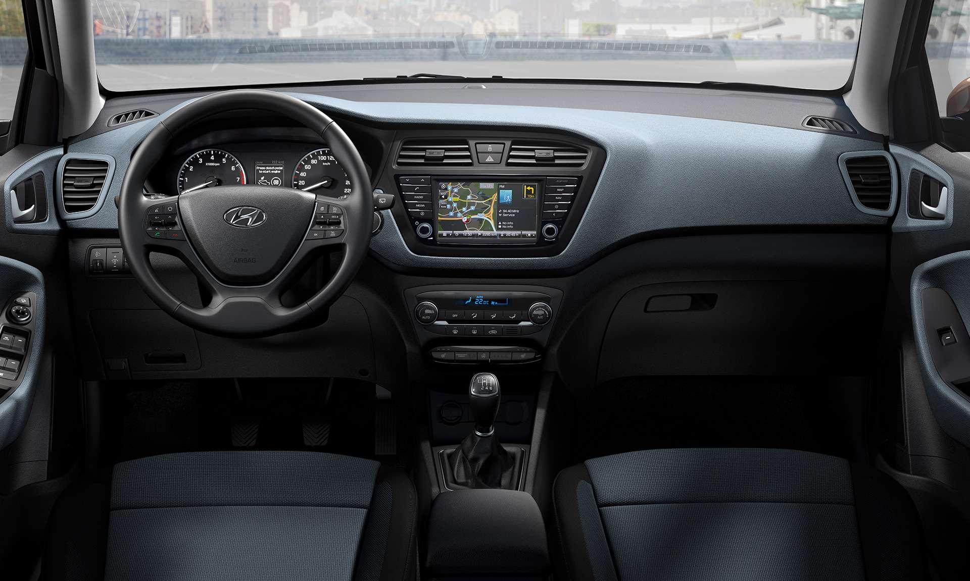 Hyundai i20 interior car hire malaga airport